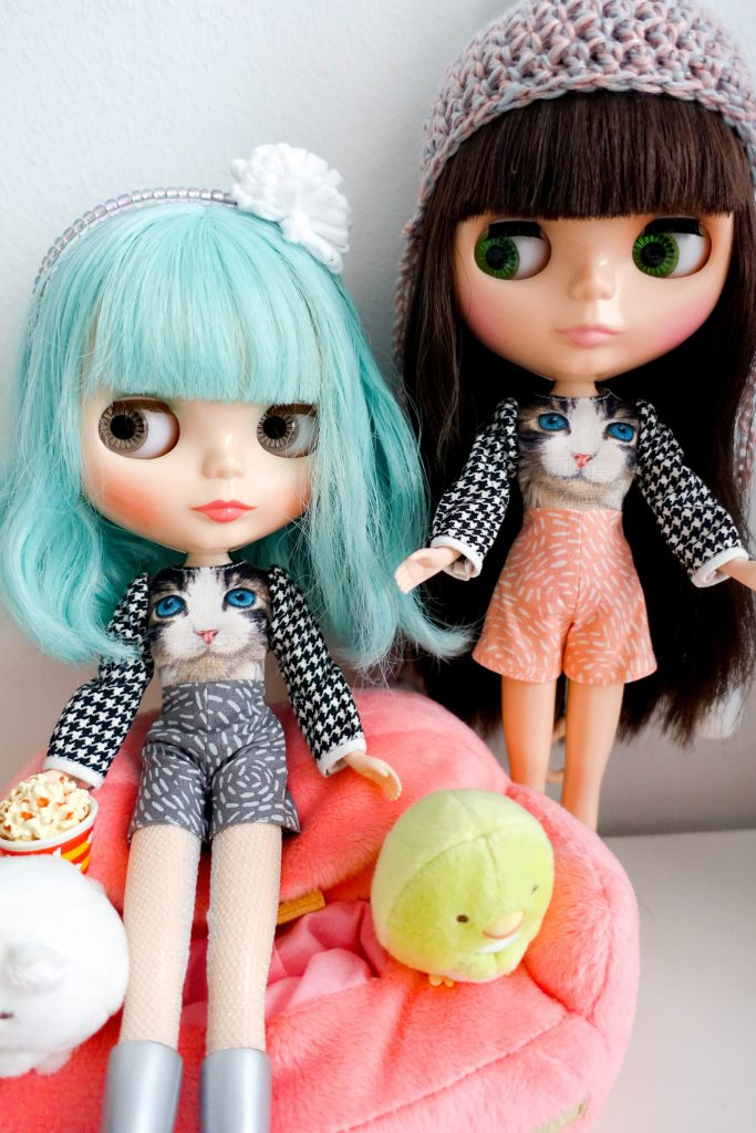 My Blythes in their new kitty rompers!