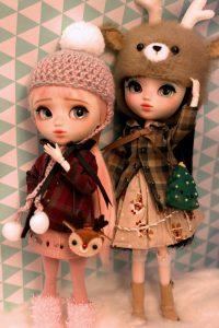 Ruri and Mayu in winter gear.